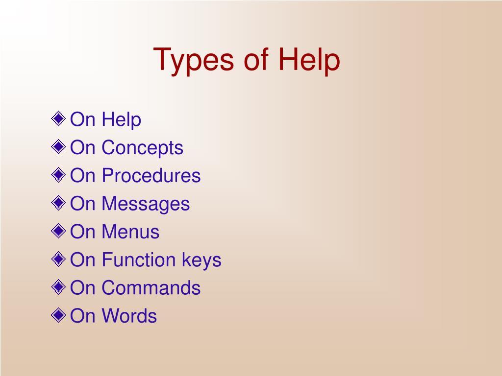 Types of Help