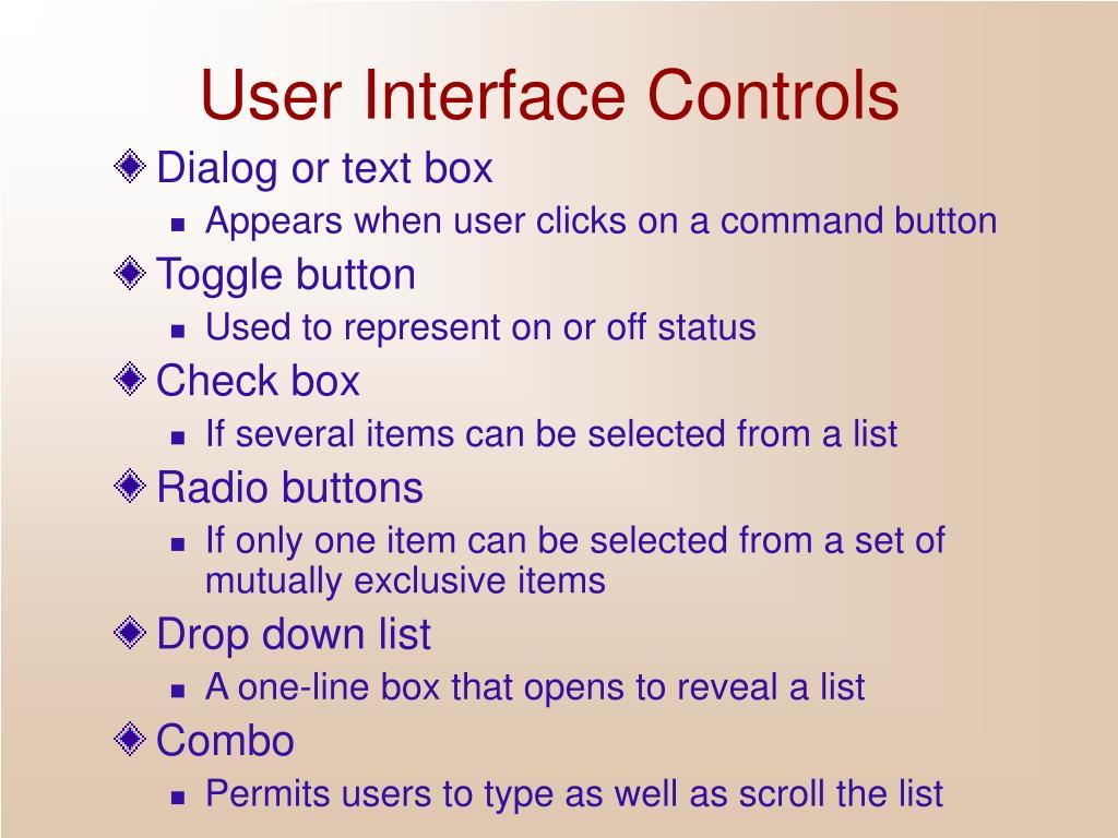 User Interface Controls