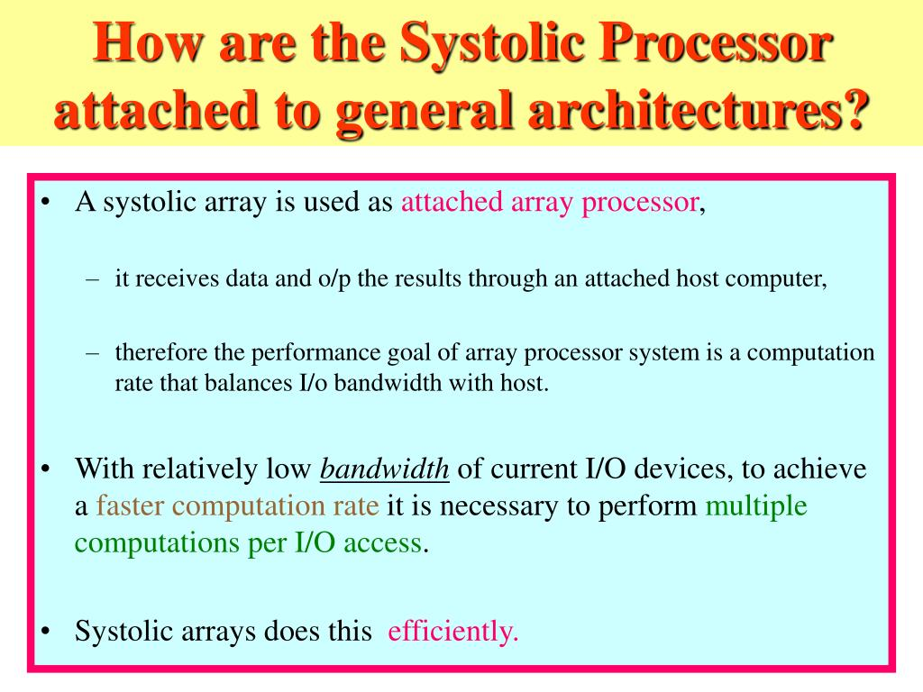 How are the Systolic Processor attached to general architectures?