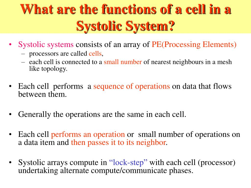 What are the functions of a cell in a Systolic System?