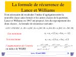 la formule de r currence de lance et williams