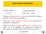 questions binaires