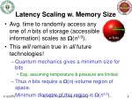 latency scaling w memory size