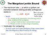 the margolus levitin bound