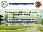 the speed of light limit on information propagation velocity