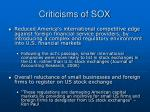criticisms of sox