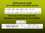 mathematical model of a rotating sc with mhd control