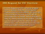 ihe request for uic overview