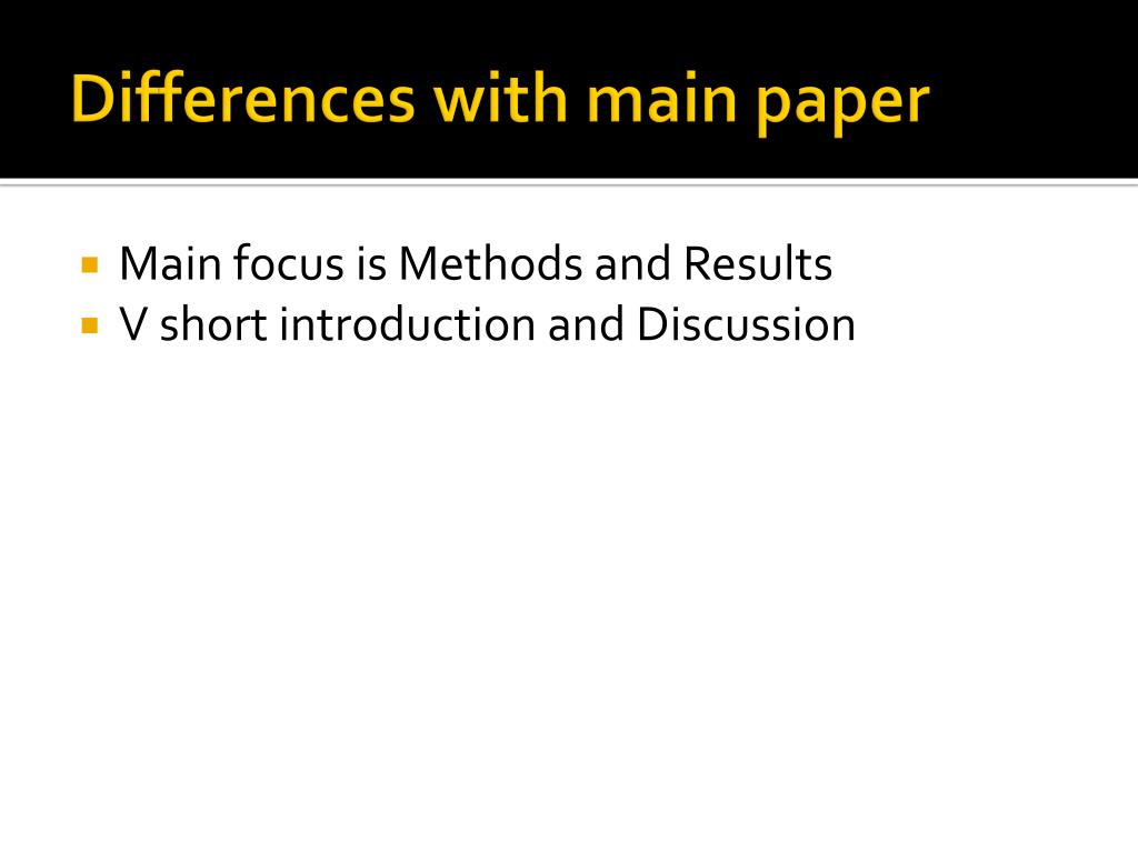 Differences with main paper