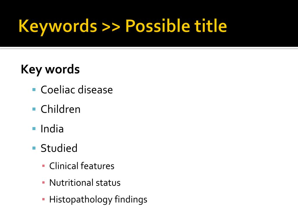 Keywords >> Possible title