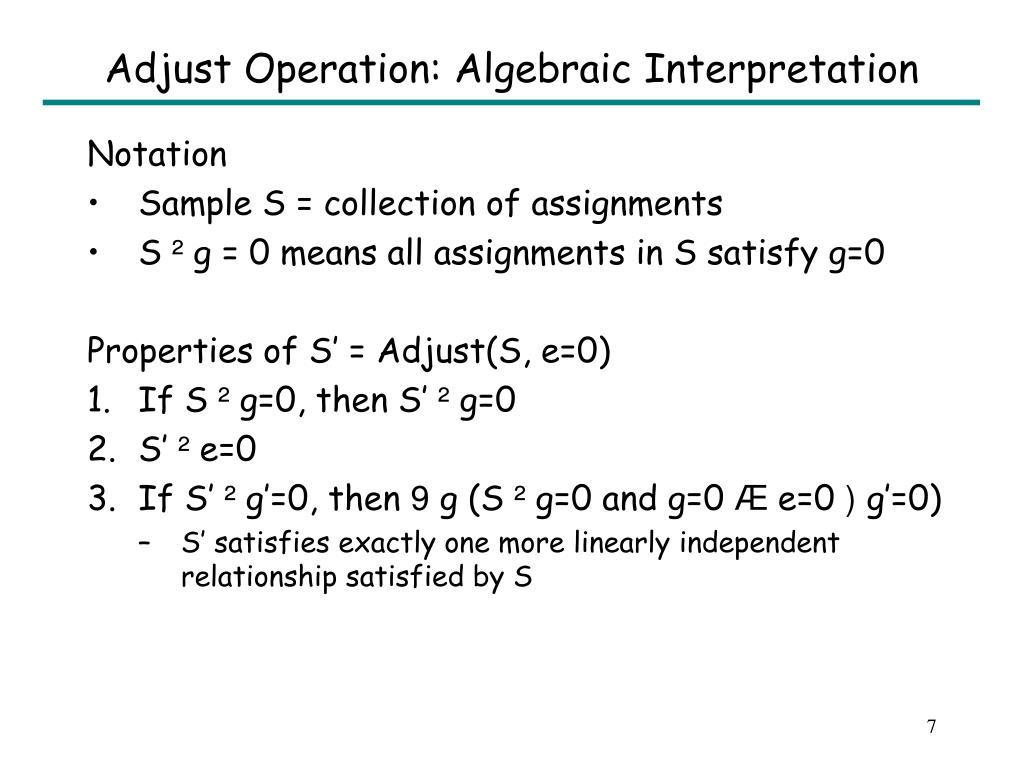 Adjust Operation: Algebraic Interpretation