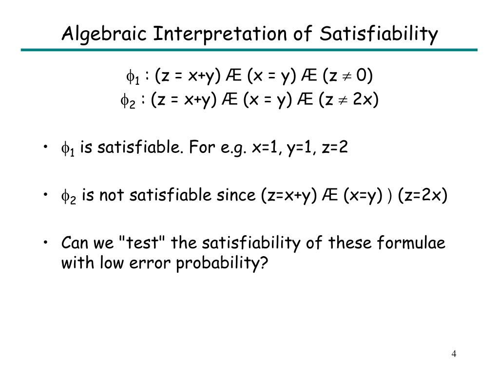 Algebraic Interpretation of Satisfiability
