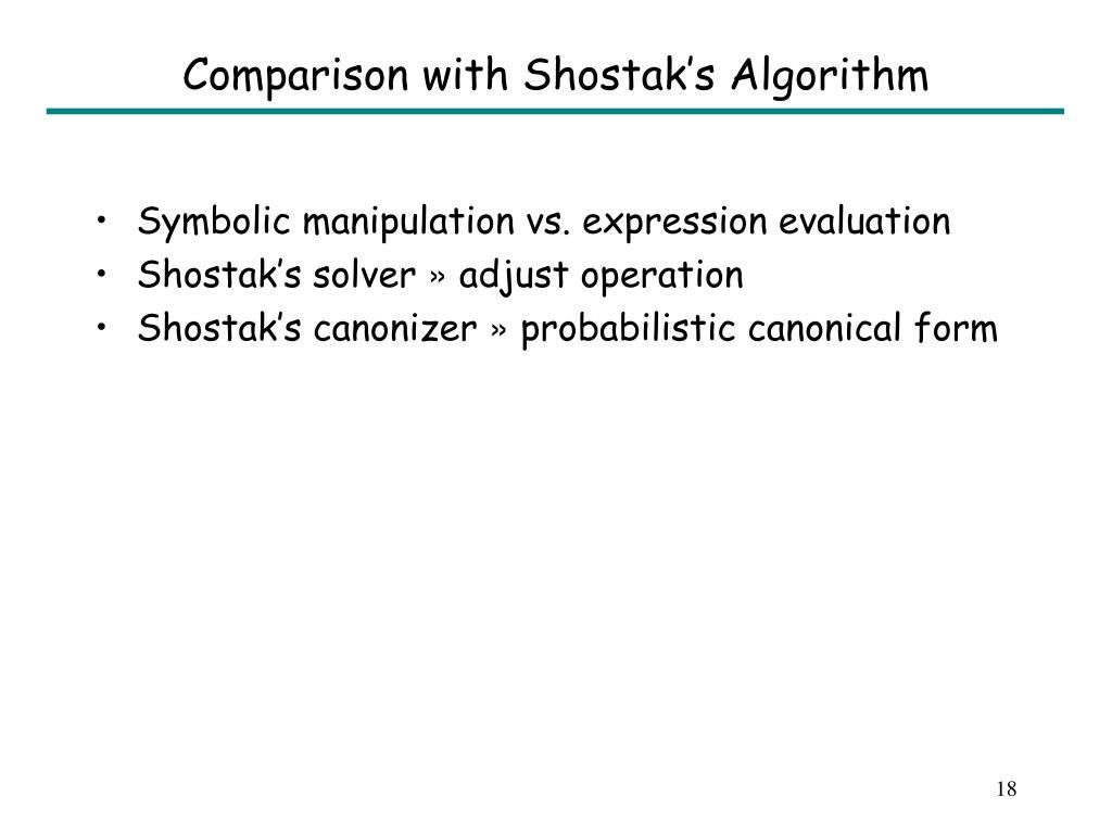 Comparison with Shostak's Algorithm