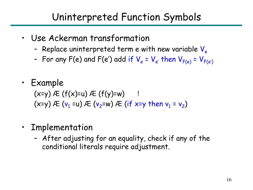 Uninterpreted Function Symbols