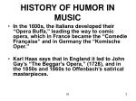 history of humor in music