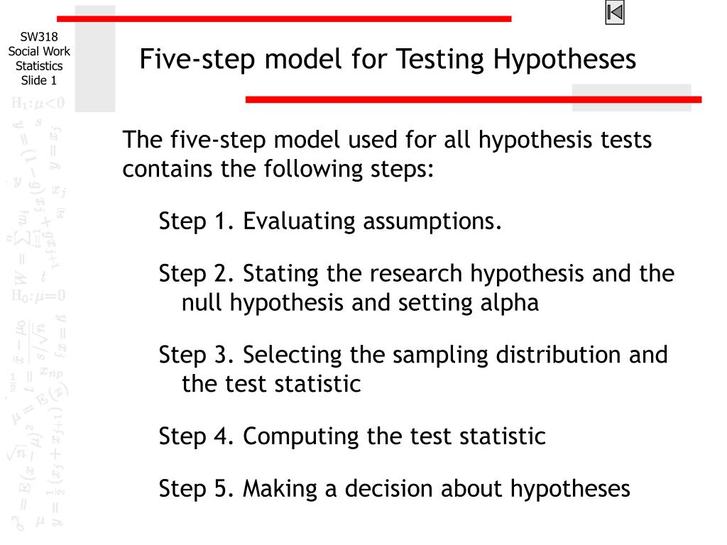 the steps in testing a research hypothesis Step 1: state the null hypothesis the null hypothesis can be thought of as the opposite of the guess the research made (in this example the biologist thinks the plant height will be different for the fertilizers) so the null would be that there will be no difference among the groups of plants.