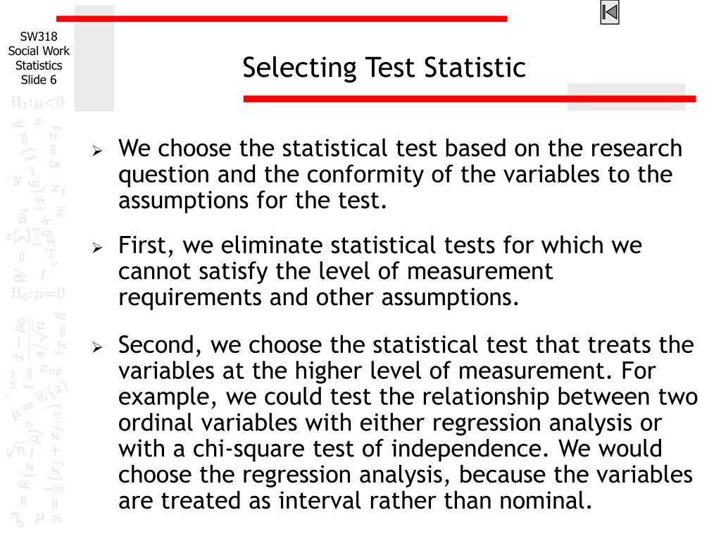 Selecting Test Statistic