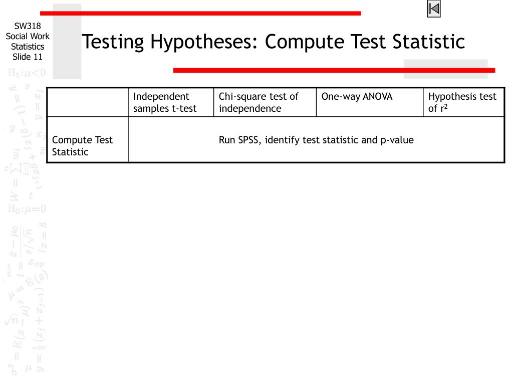 Testing Hypotheses: Compute Test Statistic
