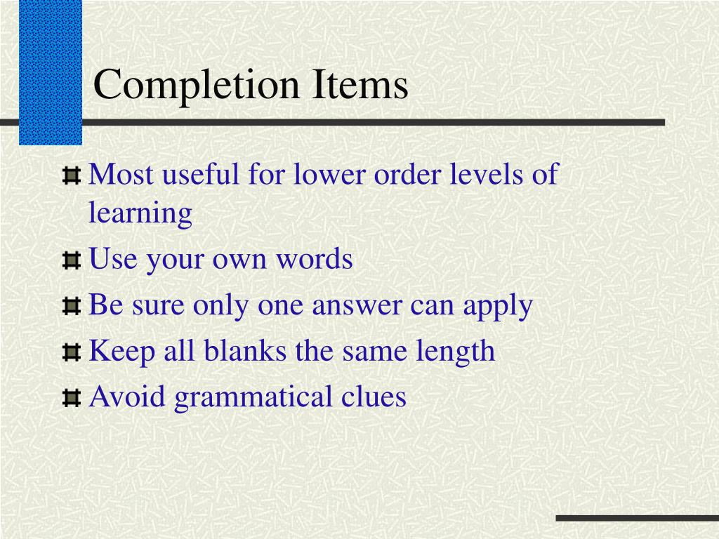 Completion Items