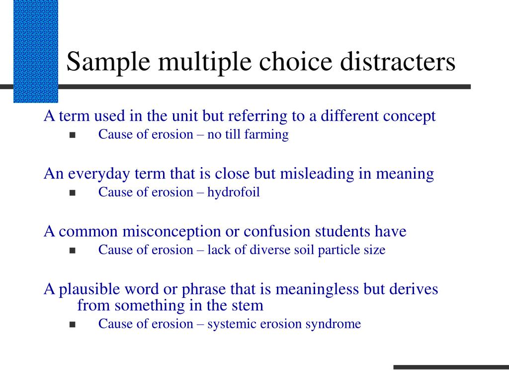 Sample multiple choice distracters