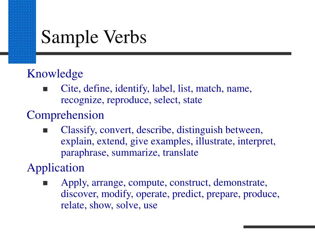 Sample Verbs