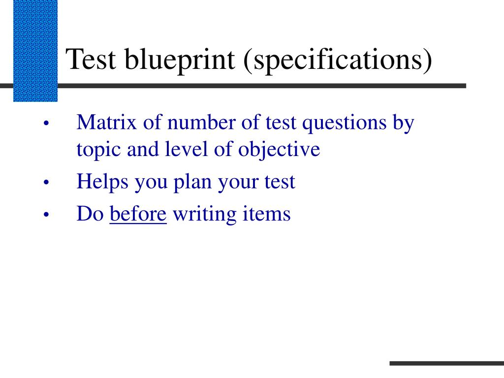 Test blueprint (specifications)
