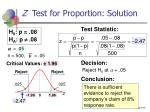 z test for proportion solution