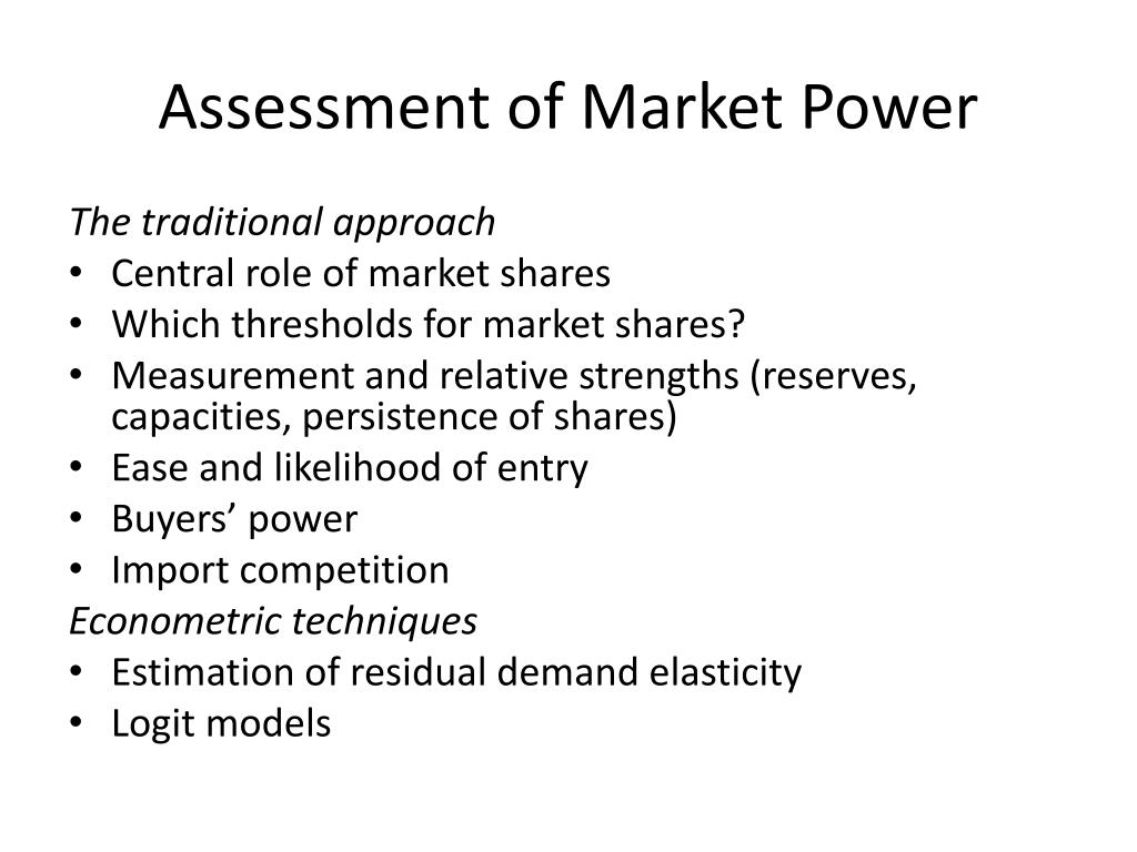 Assessment of Market Power
