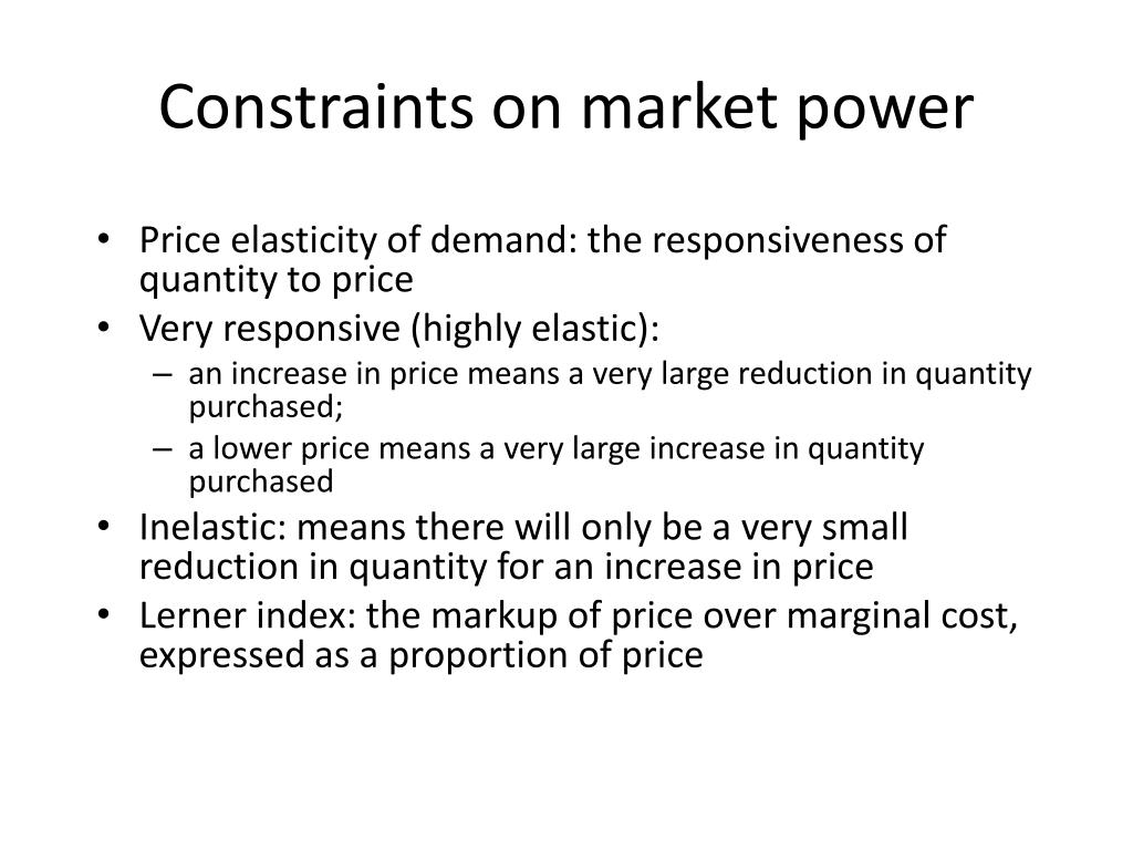 Constraints on market power