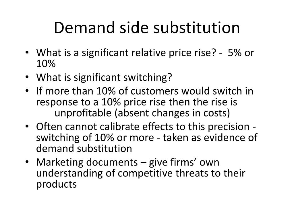 Demand side substitution