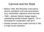 carnival and the state