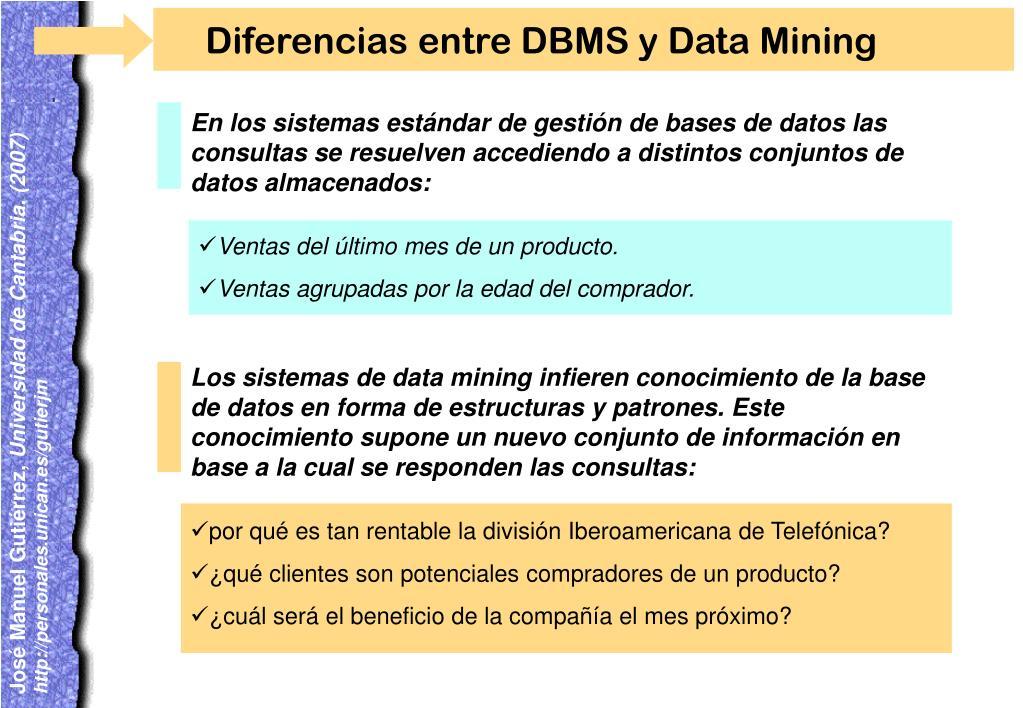 Diferencias entre DBMS y Data Mining