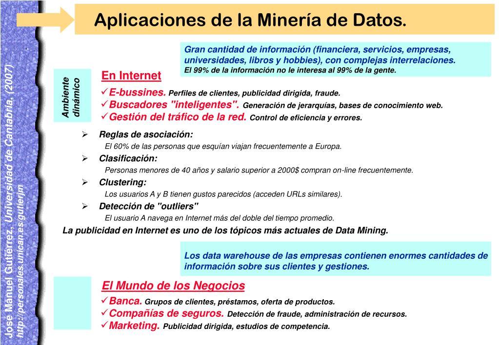 Gran cantidad de información (financiera, servicios, empresas, universidades, libros y hobbies), con complejas interrelaciones.