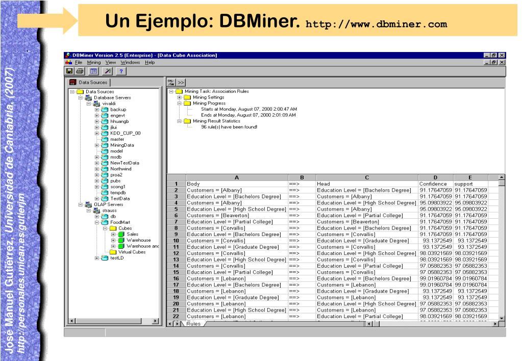 Un Ejemplo: DBMiner.