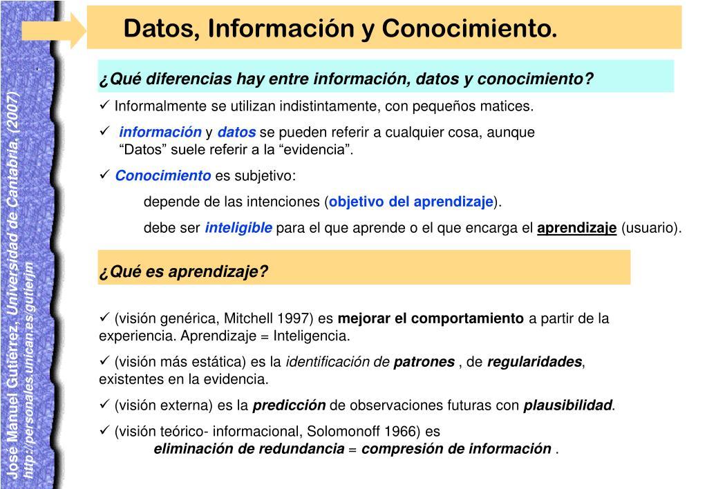 ¿Qué diferencias hay entre información, datos y conocimiento?