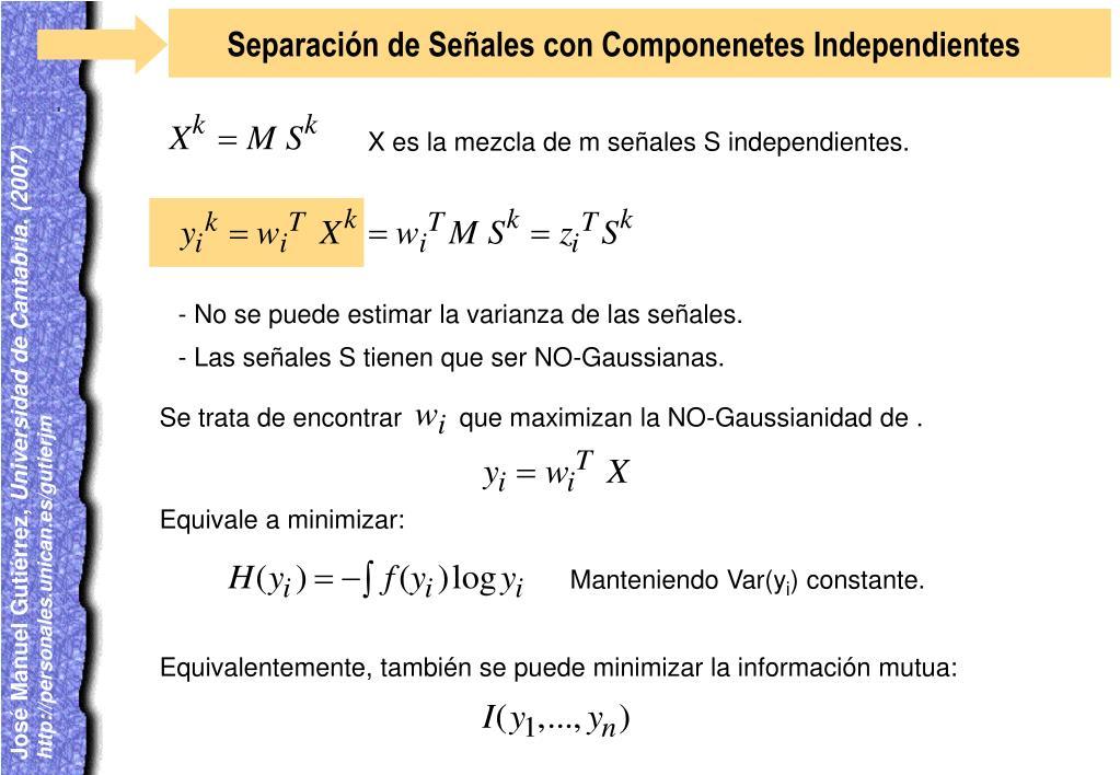 Separación de Señales con Componenetes Independientes