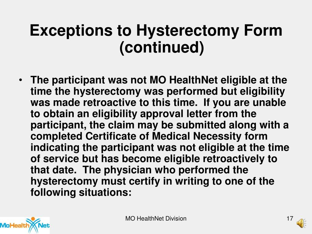 Exceptions to Hysterectomy Form (continued)