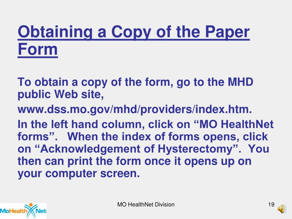 Obtaining a Copy of the Paper Form