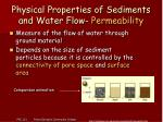 physical properties of sediments and water flow permeability