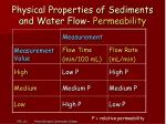 physical properties of sediments and water flow permeability12