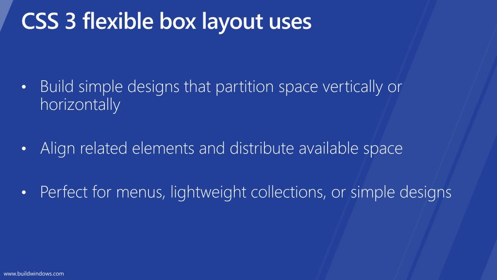 CSS 3 flexible box layout uses