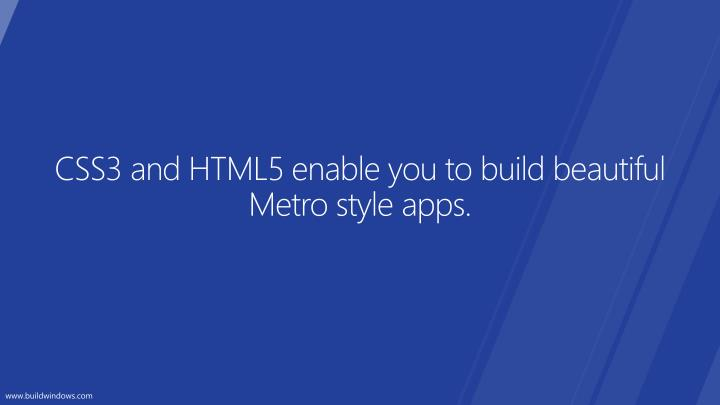 Css3 and html5 enable you to build beautiful metro style apps
