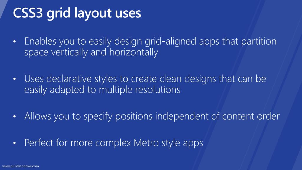 CSS3 grid layout uses