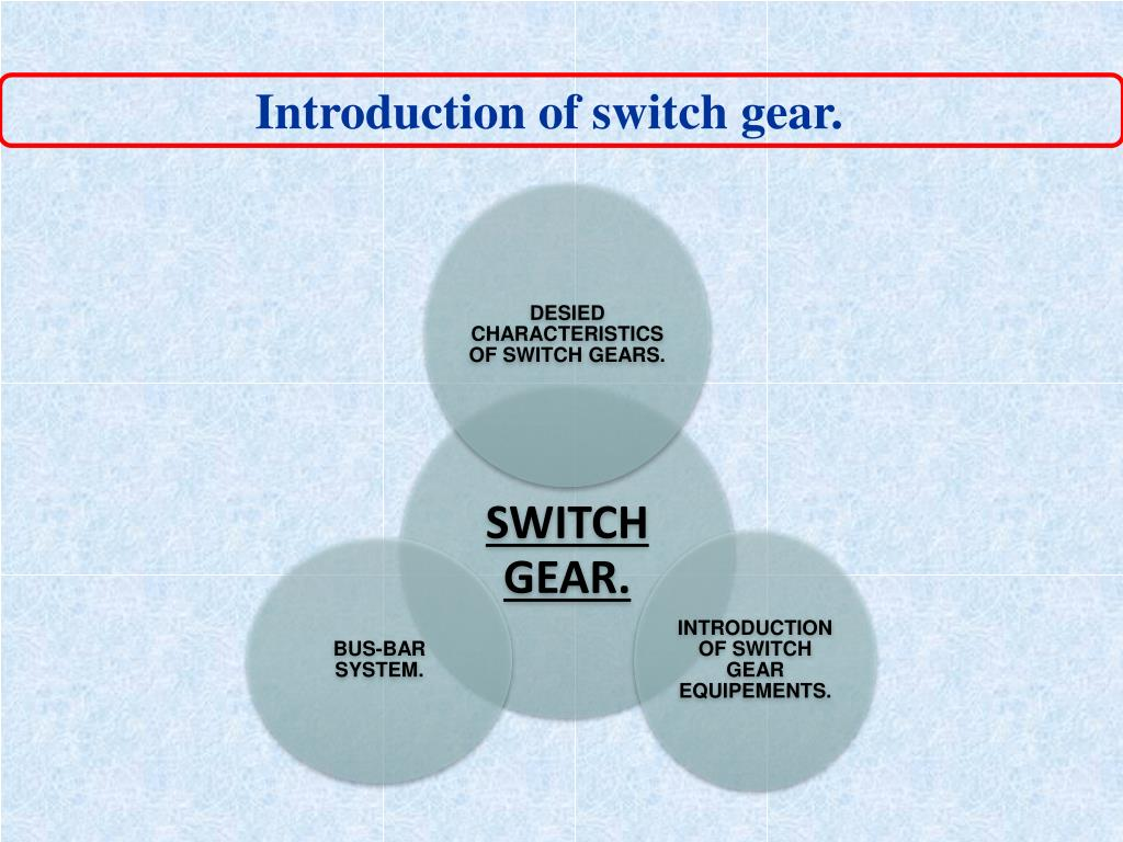 Introduction of switch gear.