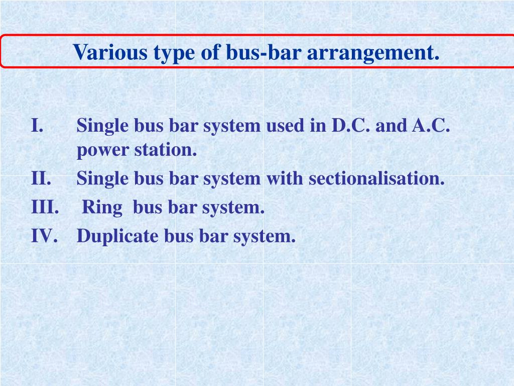 Various type of bus-bar arrangement.