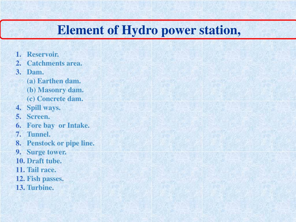Element of Hydro power station,
