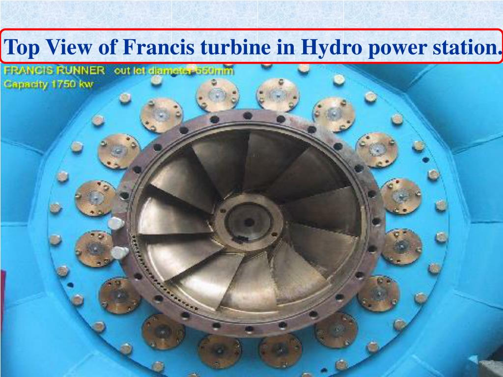 Top View of Francis turbine in Hydro power station. `