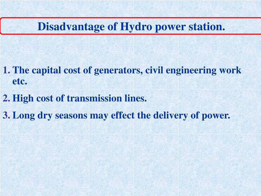 Disadvantage of Hydro power station.