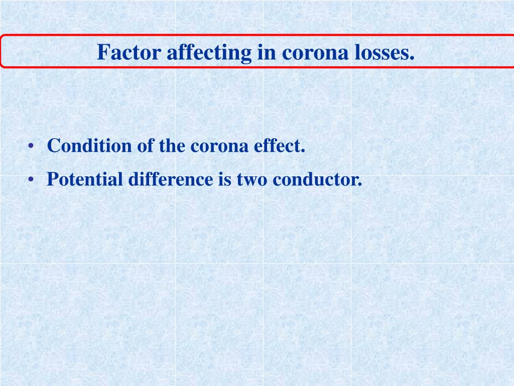 Factor affecting in corona losses.