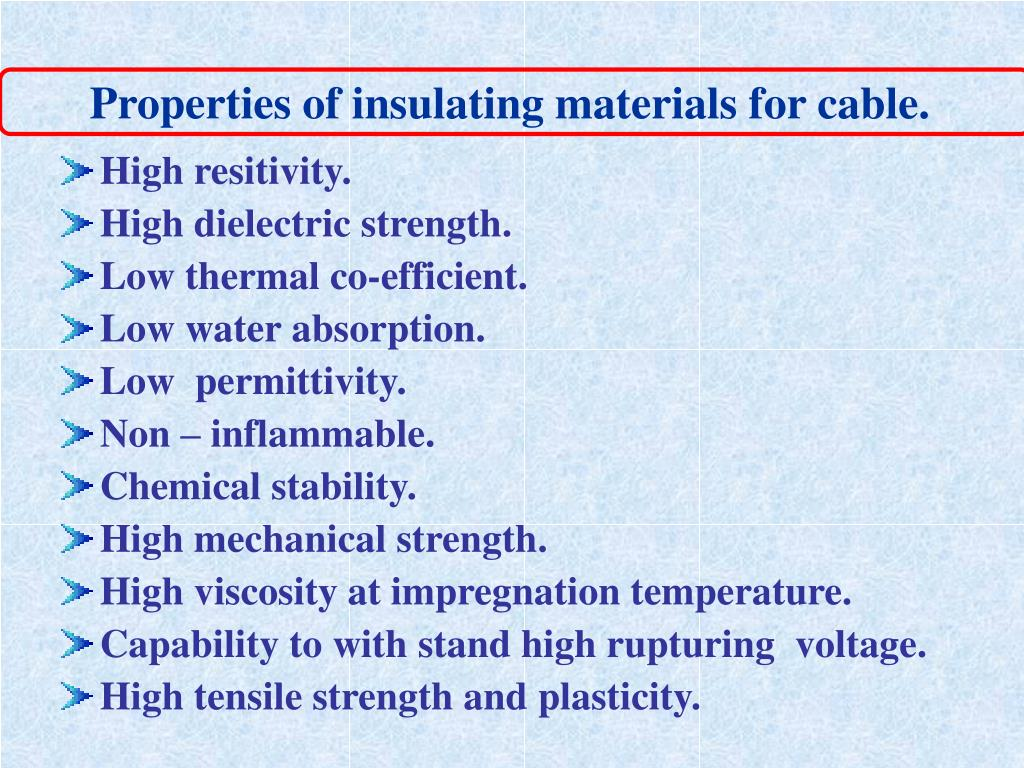 Properties of insulating materials for cable.
